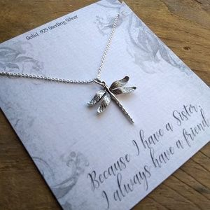 Sister's Silver Dragonfly Necklace Jewelry Gift